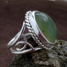 Load image into Gallery viewer, Green Prehnite Gemstone Sterling Silver Ring