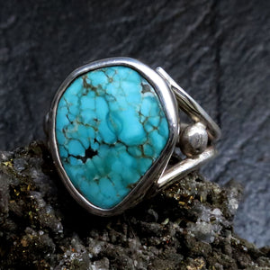 Natural Kingman Spiderweb Turquoise Gemstone Ring