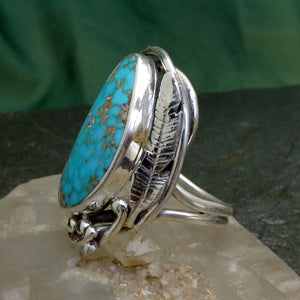 Natural Turquoise Spiderweb Light Blue Gemstone Ring Sterling Silver Hand Cut Free Form Handcrafted Art Nouveau Ring Design Engraved Feather