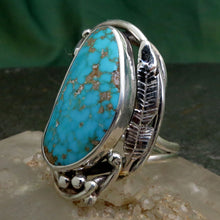Load image into Gallery viewer, Natural Turquoise Spiderweb Light Blue Gemstone Ring Sterling Silver Hand Cut Free Form Handcrafted Art Nouveau Ring Design Engraved Feather