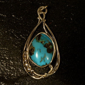 Kingman Turquoise Gemstone One of a Kind Pendant Design