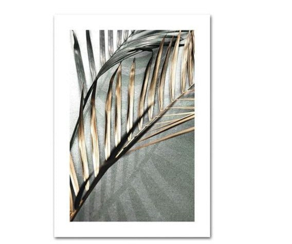Golden Palm Leaf Canvas Painting
