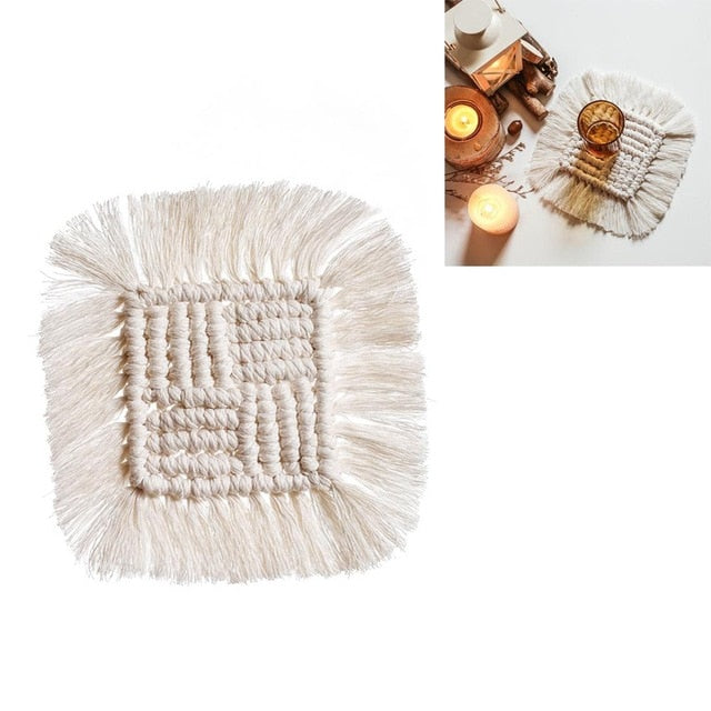 Handmade macrame cotton coasters
