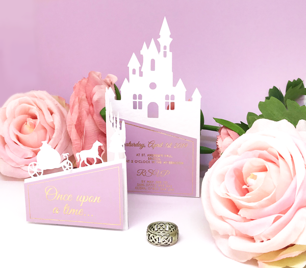 castle cut out invitation