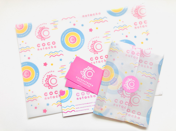 custom vellum wrap for small creative businesses. personalised with your unique branding and printed to order.