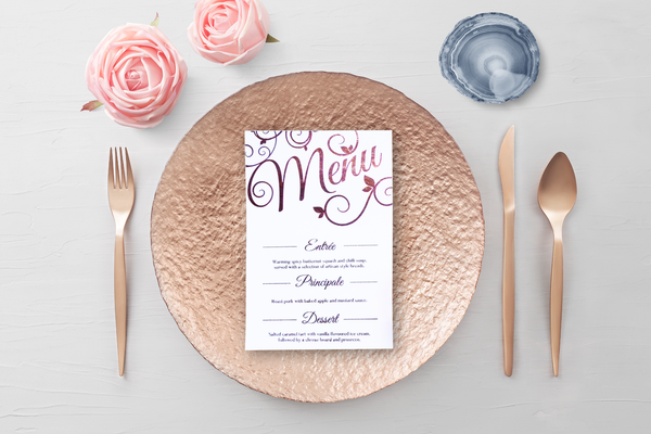 Rose Gold Menu