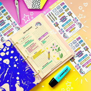 planner sticker flat lay