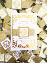 Load image into Gallery viewer, Gold Lace Wedding Invitation Set