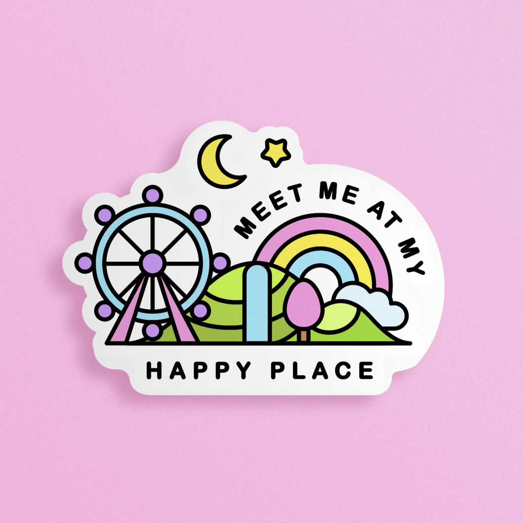 Meet me at my Happy Place Kawaii Sticker