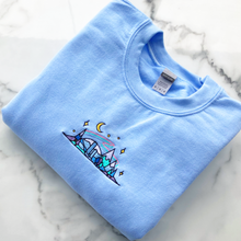 Load image into Gallery viewer, Blue Winter Skyline Sweater