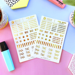 Gold Foil Planner Sticker Set