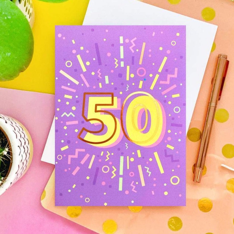 50th Birthday Foil Greeting Card