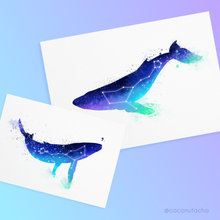 Load image into Gallery viewer, Two watercolour themed prints of a mother (or father) and baby whale. Featuring dark blues, bright greens and a hint of magenta, these are based on the nothern lights, featuring the Cetus constellation inside, also known as the Whale constellation. The mother whale is A4 size and the baby whale is A5 size.