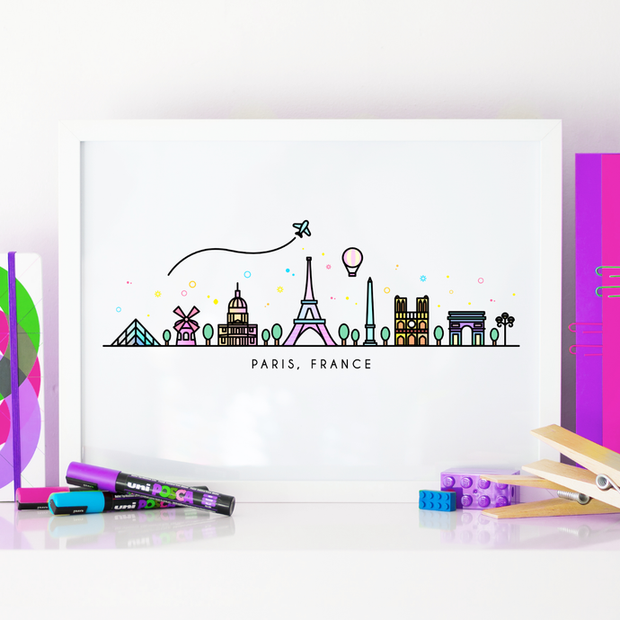 Paris Skyline Wall Art Print