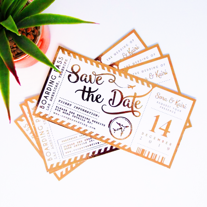 Plane Ticket Save the Dates