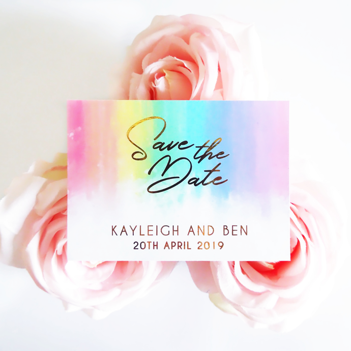 Rainbow Save the Dates