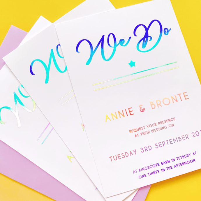 Holographic Wedding Invitation/Save the Date