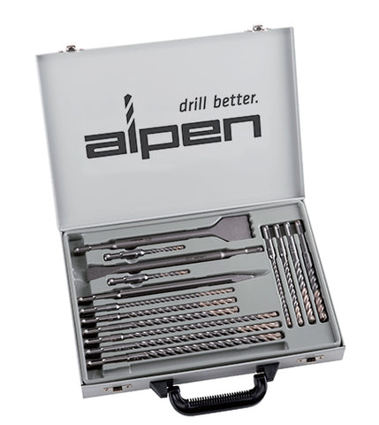 SDS PLUS DRILL AND CHISEL SET 16 PIECE IN METAL CARRY CASE
