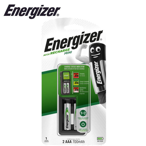 ENERGIZER MINI CHARGER WITH STATUS INDICATOR (AA & AAA) +2 AAA BATTERI