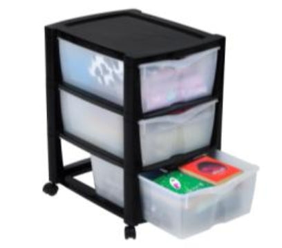 3 Drawer Storage unit GLOSS (Bl-Clear)