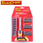 SCREWDRIVER RATCHET T-HANDLE BIT SET 31PC