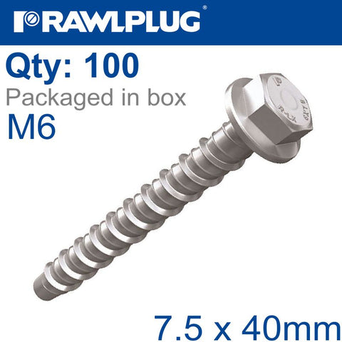 CONCRETE SCREWBOLT M6 7.5X40MM HEX HEAD WITH FLANGE GALV BOX OF 100