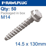CONCRETE SCREW BOLT M14.5X130MM HEX HEAD ZINC PLATED 50/BOX
