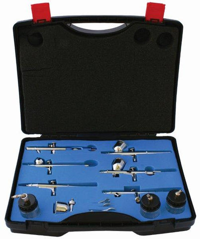 AIRBRUSH SET WITH 6 GUNS 800 137 134 130 180 182 3 GLASS JARS