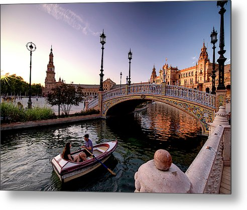 Rowing Amidst Splendor - Metal Print