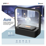 Groov-e Aura Wireless Charging Station with Bluetooth Speaker & Touch Control LED Desk Lamp - GVWC03