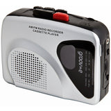 Groov-e Portable Retro Personal Cassette Player and Recorder with Speaker & Mic, AM/FM Radio and Earphones - Black/Silver - GVPS525/SR