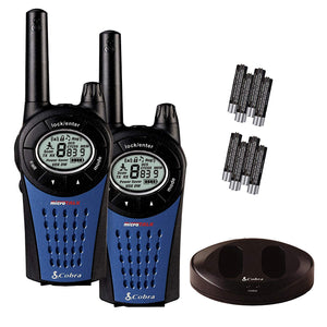 Cobra MT975 Walkie Talkie Radio Twin Pack With Charger And Batteries - Black/Blue