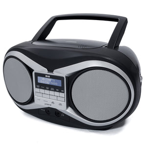 Groov-e Portable CD Player with DAB/FM Digital Radio with 20 Preset Stations, AUX Input & LCD Display - Black - GVPS753/BK