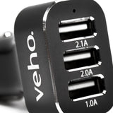 Veho Triple USB 5V 5.1A In-Car Charger for USB Cables | 3 Port - VAA-010
