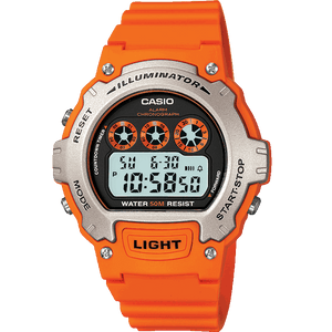 Casio Men's Digital Quartz Watch with Resin Strap - Orange - W-214H-4AVEF
