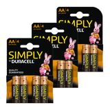 Duracell Simply Alkaline Batteries for General Household Use - Size AA/AAA