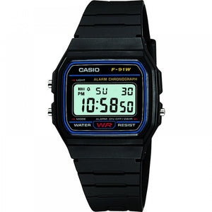 Casio Casual Digital Watch with Black Resin Strap - F-91W-1YER