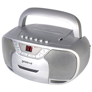 Groov-e Classic Boombox Portable CD & Cassette Player with Radio - Silver - GVPS823SR
