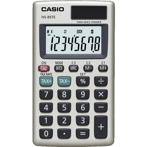 Casio HS85T Pocket Calculator with 8-Digit Display & Tax Calculations - Silver - HS85TE-SK