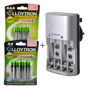 Lloytron 3-Piece Rechargeable Battery Bundle | Includes 4x AA, 4x AAA + Mains Battery Charger - B011 / B014 / B1502