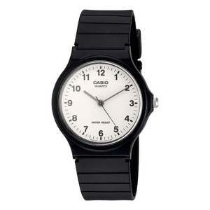 Casio Collection Unisex Adults Quartz Watch with White Face/Black Strap - MQ-24-7BLL