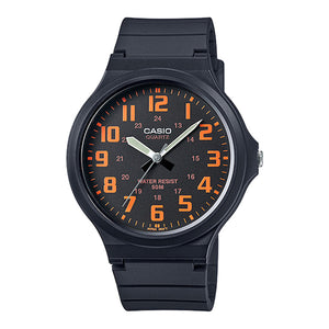 Casio Mens Analogue Watch with Resin Strap - Black/Orange - MW-240-4BVEF