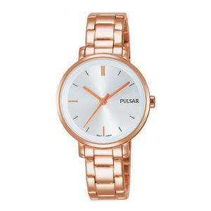 Pulsar Ladies Dress 50M Water Resistant Watch – Rose Gold / Grey Dial – PH8340X1