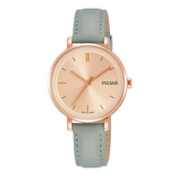 Pulsar Ladies 50M Water Resistant Watch – Grey Leather Strap / Rose Gold Dial – PH8366X1