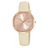 Pulsar Ladies 50M Water Resistant Watch – Cream Leather Strap / Rose Gold Case & Dial – PH8394X1