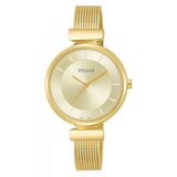 Pulsar Ladies Mesh Bracelet 50M Water Resistant Watch – Gold Plated – PH8412X1