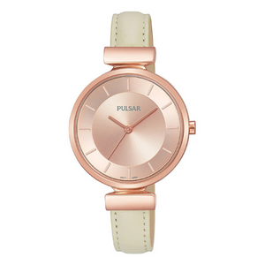 Pulsar Ladies 50M Water Resistant Watch – Cream Leather Strap / Rose Gold Case – PH8418X1