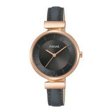Pulsar Ladies 50M Water Resistant Watch – Black Leather Strap / Rose Gold Case – PH8420X1