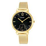 Pulsar Ladies Mesh Bracelet 50M Water Resistant Watch – Gold / Black Dial – PN4076X1