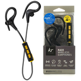 KitSound Race In Ear Wireless Bluetooth Headphone with S/M/L Earbuds - Black - KSRACBK